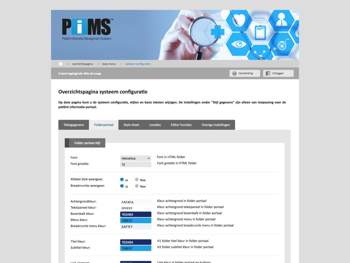 PIMS schermafdruk portaal instellingen