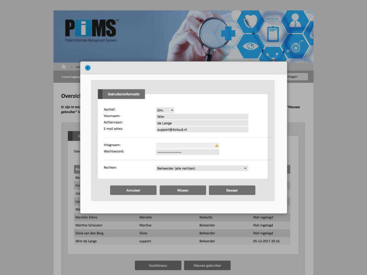 PIMS schermafdruk gebruikersbeheer