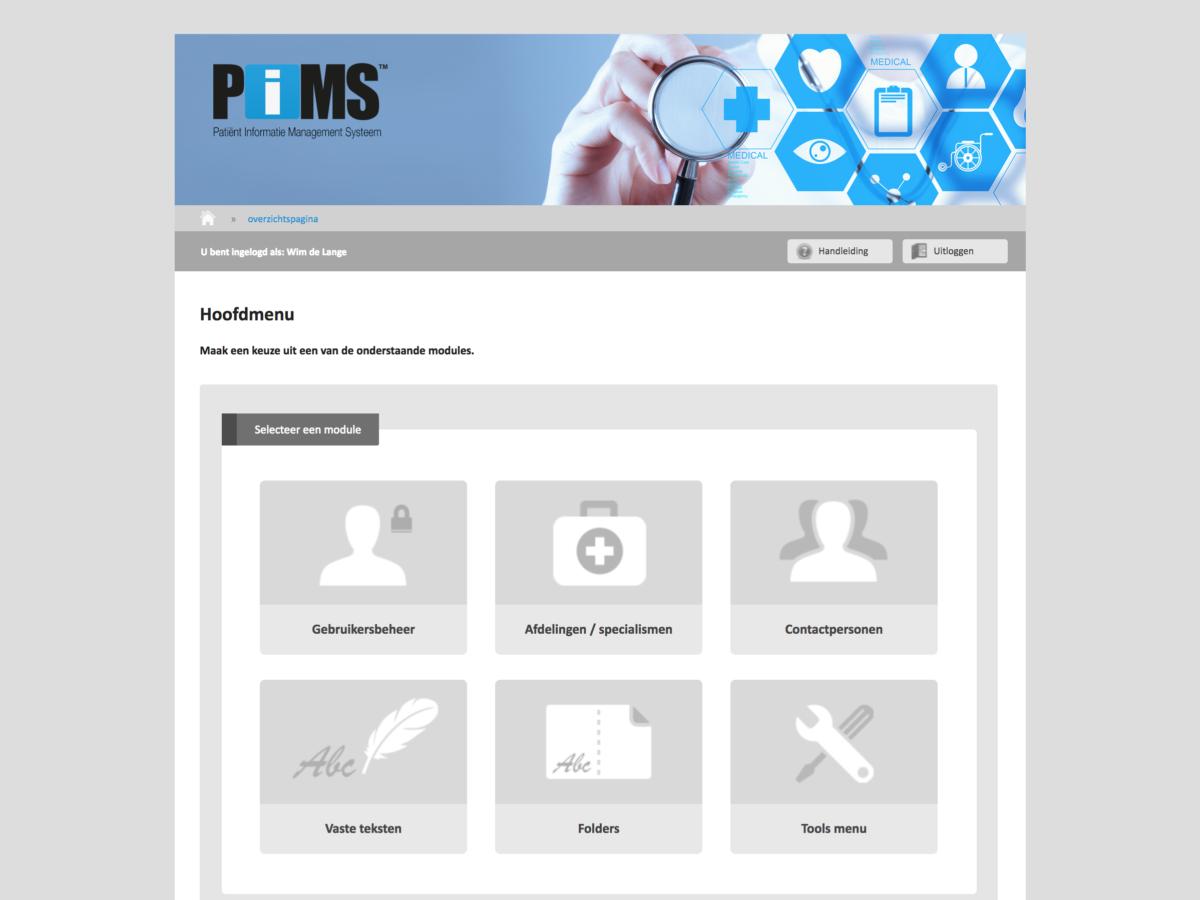PIMS schermafdruk hoofdscherm